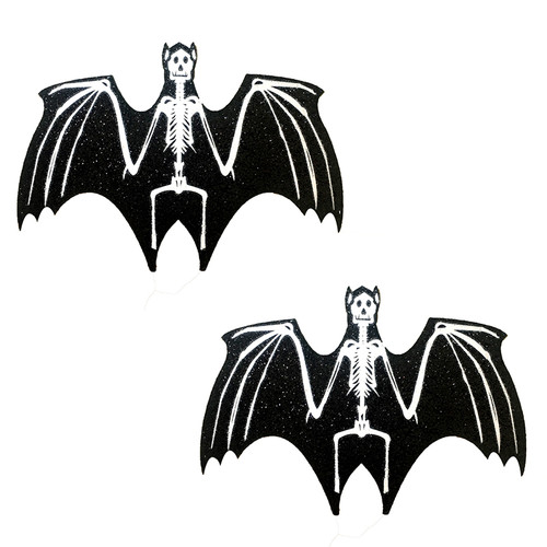 Black Skeleton Bats Glitter Halloween Nipztix Pasties