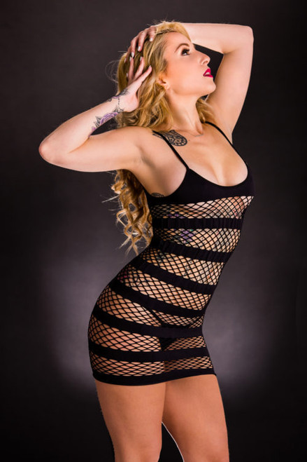 Black Horizontal Mesh Stripe Dress by Beverly Hills Naughty Girl