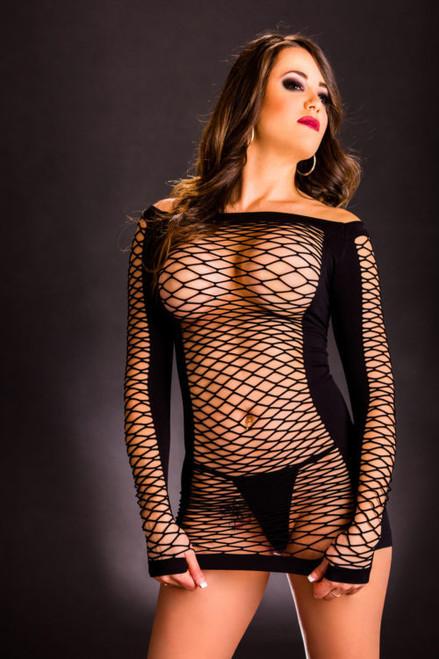 Black Long Sleeve Mesh Dress by Beverly Hills Naughty Girl