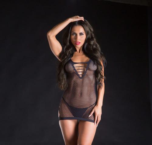 Black Spaghetti String Mesh Dress by Beverly Hills Naughty Girl