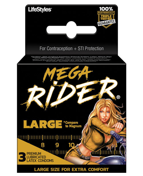 LifeStyles Mega Rider Condoms 3 Pack