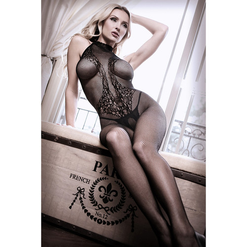 Back To Black Lace Body Stocking by Fantasy Lingerie