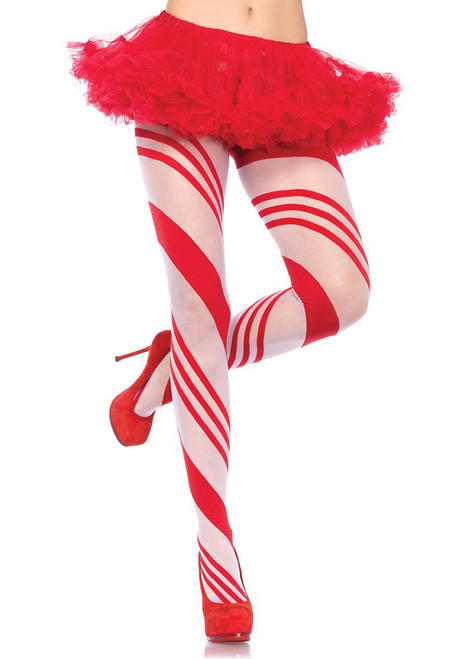 Candy Cane Striped Pantyhose by Leg Avenue