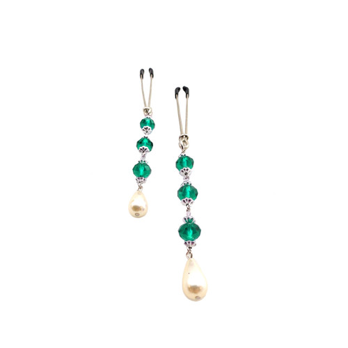 Faux Pearl and Beads Tweezer Nipple Clamps by Bijoux de Nip-Turquoise