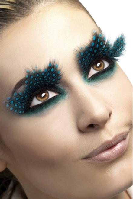 Large Black Feather Eyelashes with Aqua Colored Dots