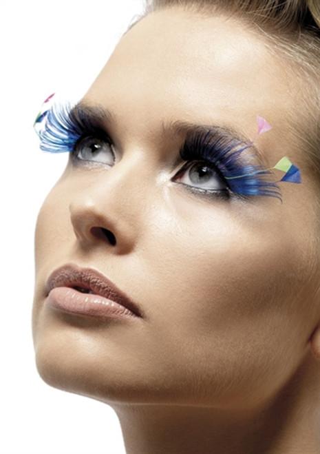 Blue Eyelashes with Feather Plumes