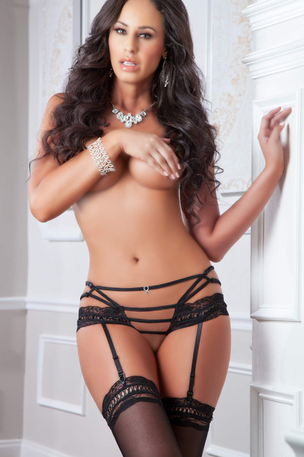 Black Crotchless Panty and Stockings Set by G World Intimates