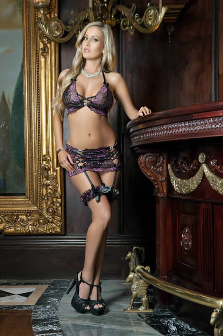 Lace Garter Mini Skirt Bustier and Panty Set by G World Intimates