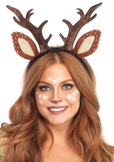 Fawn Reindeer Ear and Antler Headband