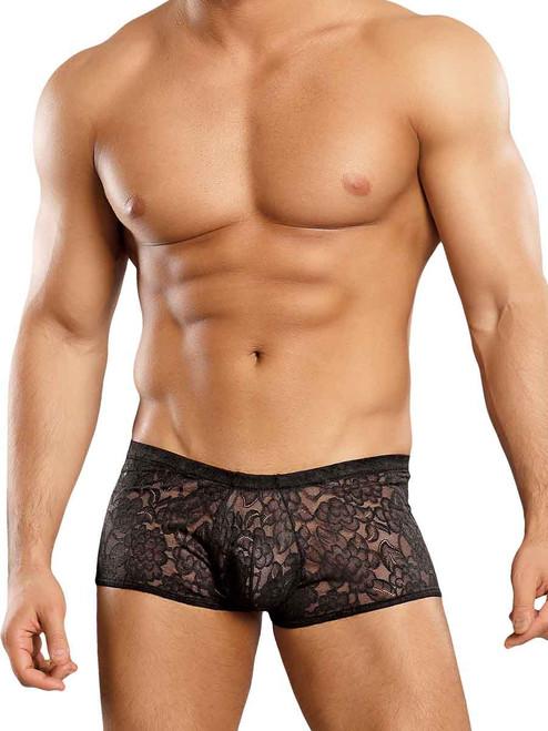 Black Male Power Sheer Lace Mini Shorts for Men