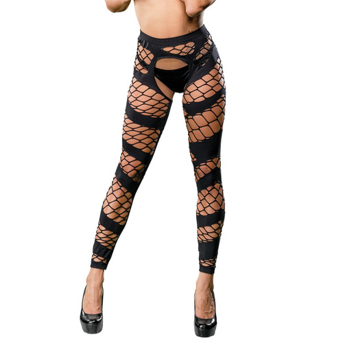 Wild Mesh Crotchless Leggings by Beverly Hills Naughty Girl-Black