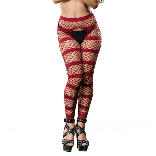 Striped Mesh Crotchless Leggings by Beverly Hills Naughty Girl-Burgundy