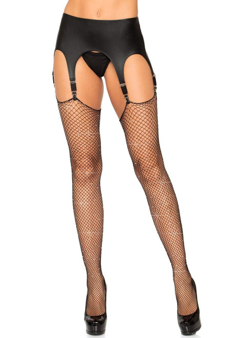 Rhinestone Fishnet Thigh High Stockings by Leg Avenue-Black