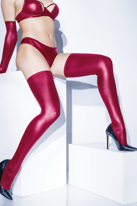 Coquette Lingerie Wet Look Thigh High Stockings-Merlot Red