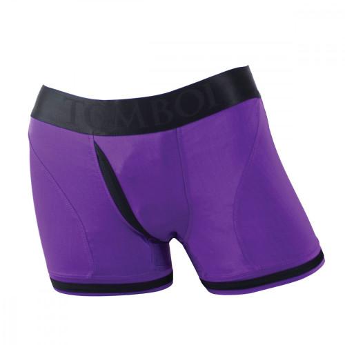 SpareParts Tomboii Strap On Harness Boxer Briefs-Purple/Black