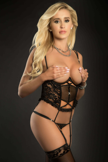 Teddy Corset With Open Cups and Crotch by G World Intimates