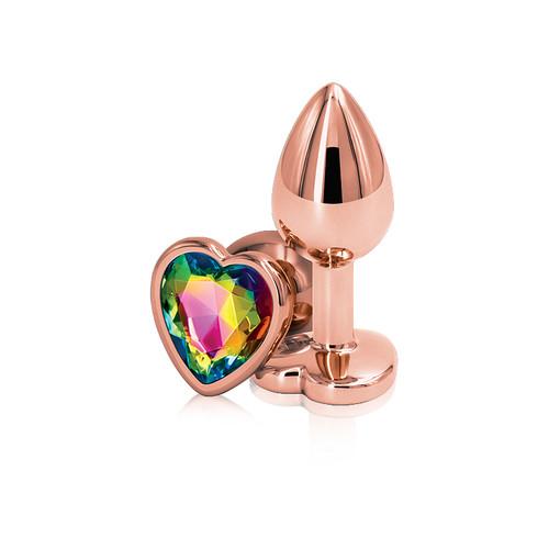Rear Assets Rose Gold Rainbow Heart Aluminum Anal Plug