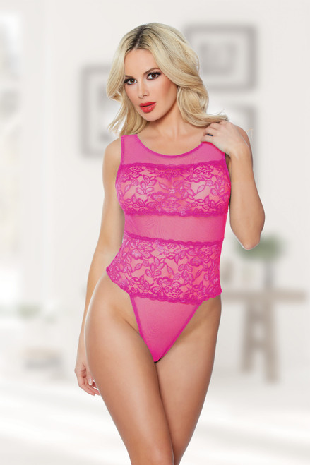 Allure Lingerie Heather and Lace Teddy-Hot Pink