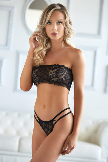 Allure Lingerie Emmanuelle Lace Bandeau and Thong Set-Black