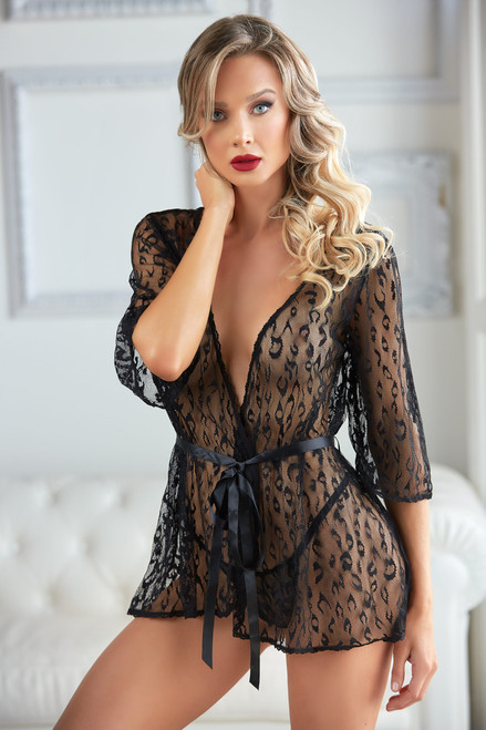 Allure Lingerie Valentina Leopard Lace Robe and G-String-Black