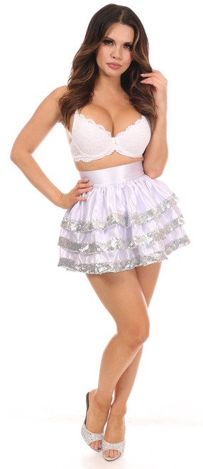 Daisy Corsets 3 Layer Sequin Skirt-White