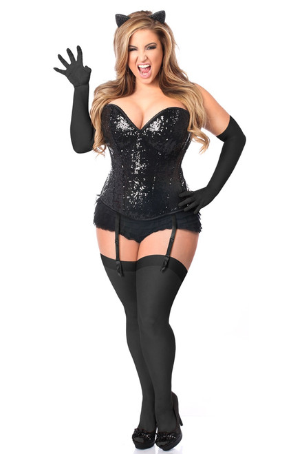 Black Cat Sequin Corset Costume by Daisy Corsets