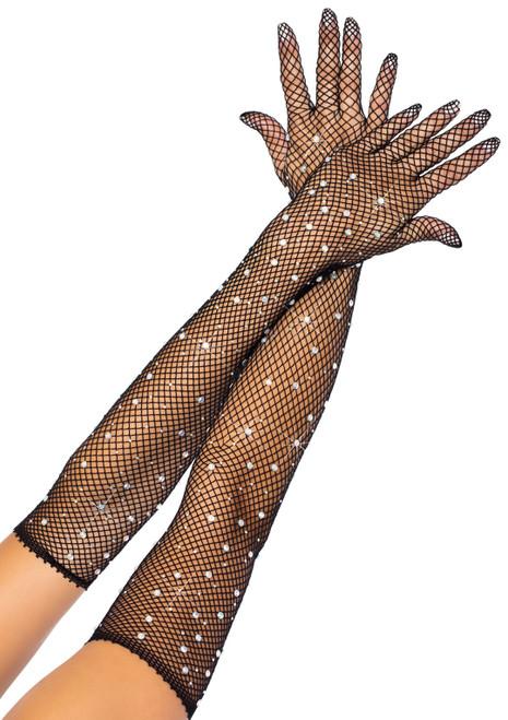 Rhinestone Fishnet Long Gloves by Leg Avenue-Black
