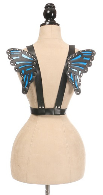 Vegan Leather Butterfly Wings by Daisy Corsets-Blue/Black