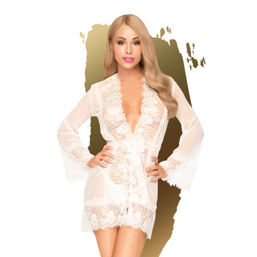 Penthouse Lingerie Hypnotic Power White Kimono and Thong