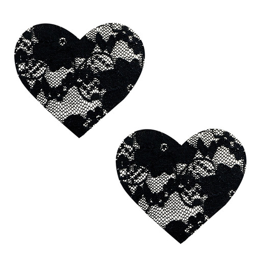 Lace Heart Pasties-Black