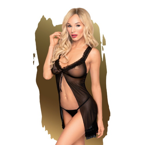 Penthouse Lingerie After Sunset Babydoll and Thong-Black