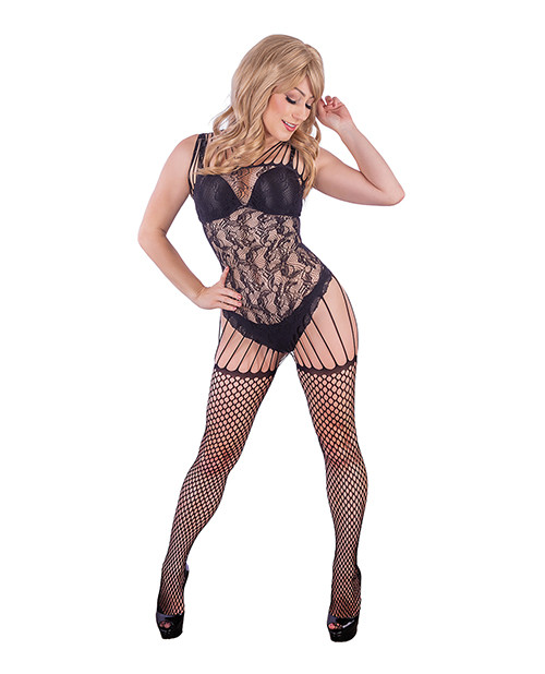 Kix'ies All In One Fishnet and Lace Garter Body Stocking