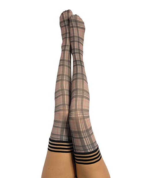 Kix'ies Lori Tan Black Plaid Thigh High Stockings
