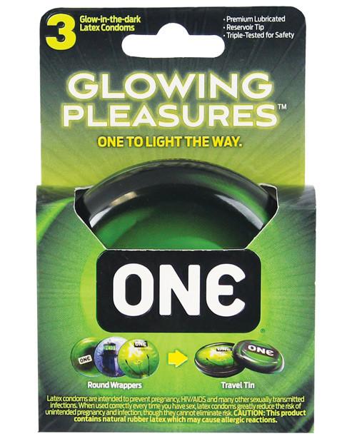 ONE Glowing Pleasures Glow In The Dark Condoms 3 Pack
