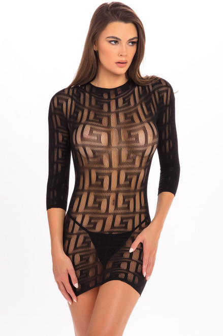 Rene Rofe Exotic Geometry Mini Dress