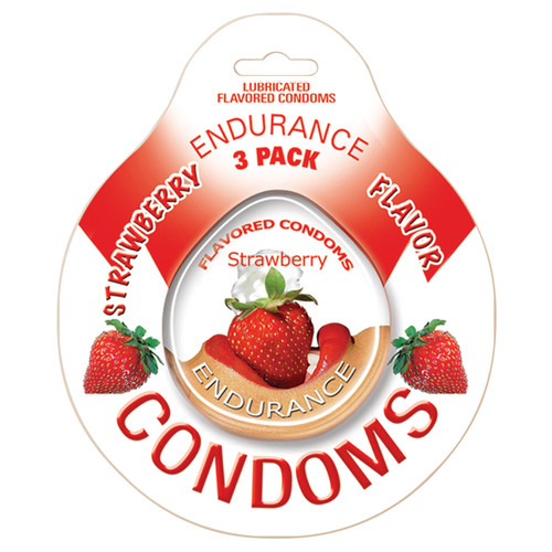 Endurance Flavored Condoms 3 Pack-Strawberry