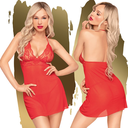 Penthouse Lingerie Bedtime Story Babydoll and Thong-Red