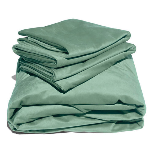 Liberator Liquid Velvet Fitted Sheet and 2 Pillow Covers-Sage