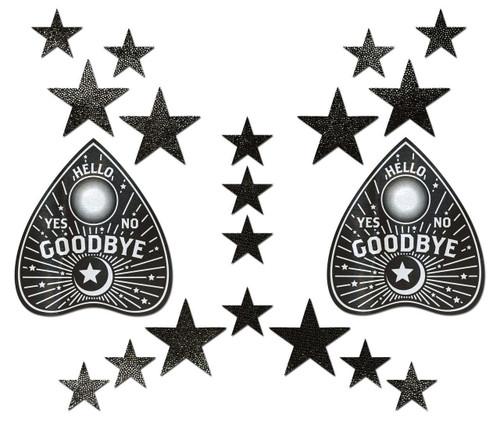 Pastease Black Ouija Planchette with Stars Set Nipple Pasties