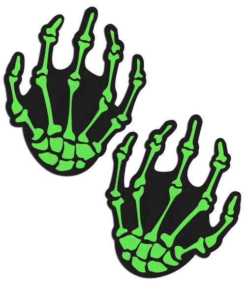 Pastease Neon Green Boney Zombie Hands Nipple Pasties