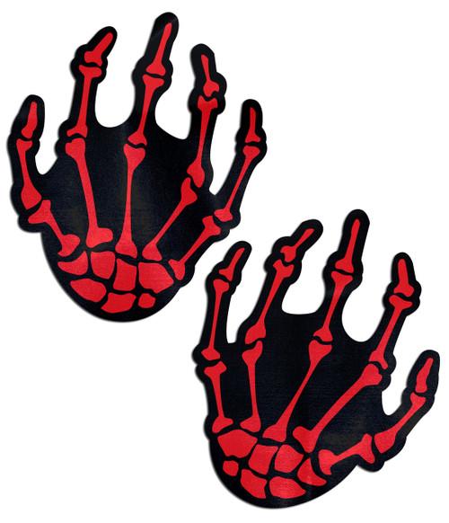 Pastease Blood Red Boney Skeleton Hands Nipple Pasties