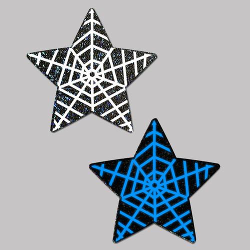 Pastease Glow In The Dark Black Star Spiderweb Nipple Pasties