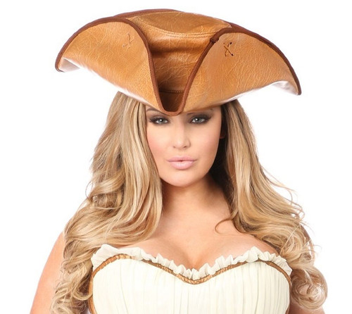 Faux Leather Pirate Hat-Camel