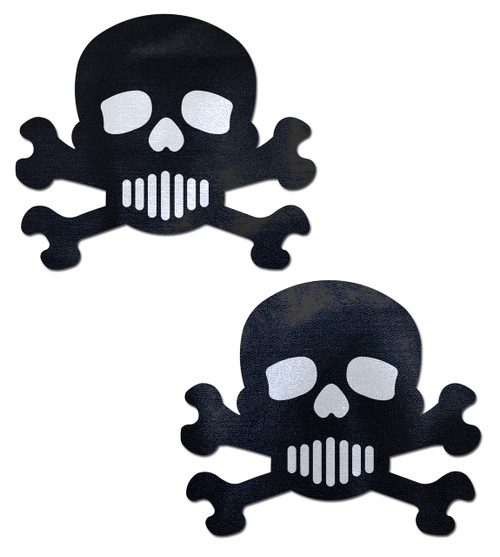 Pastease Black and White Skull and Crossbones Nipple Pasties