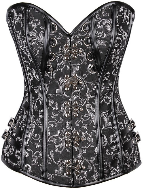 Brocade and Faux Leather Steampunk Corset by Daisy Corsets-Black with White