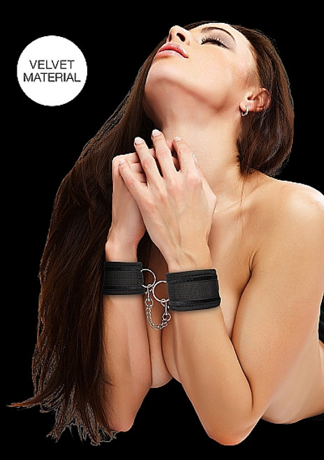 Shots Ouch! Black Velvet and Velcro Adjustable Wrist Cuffs