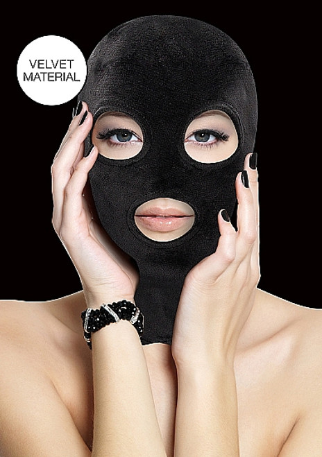 Shots Ouch! Black Velvet and Velcro Mask with Eye and Mouth Opening