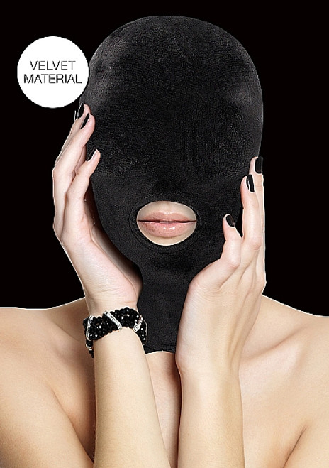 Shots Ouch! Black Velvet and Velcro Mask with Mouth Opening