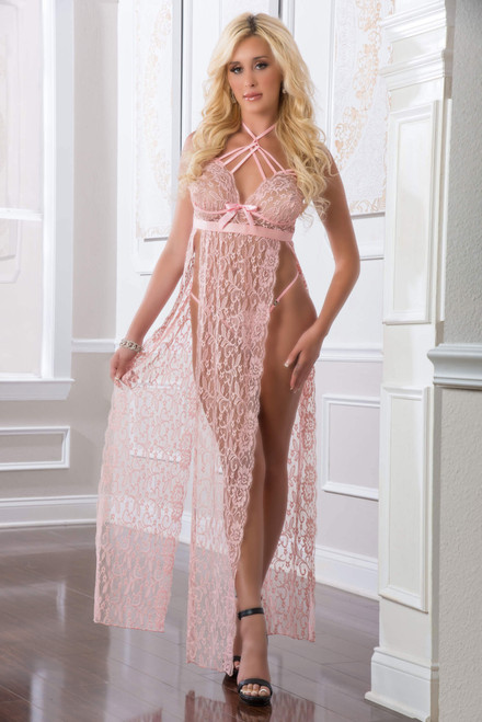 Sheer Lace Night Gown by G World Intimates-Sweet Pink