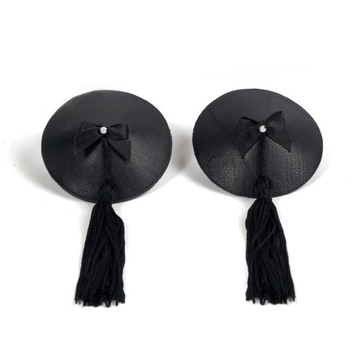 Bijoux Indiscrets-Burlesque Collection Black Leather and Satin Tassels Pasties